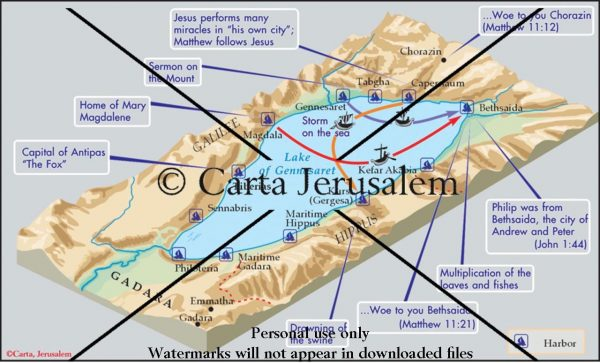Around The Lake Of Gennesaret on dead sea map, golgotha map, mount of beatitudes map, bethany map, sea of tiberias map, mount of olives map, gethsemane map, abilene map, capernaum map,
